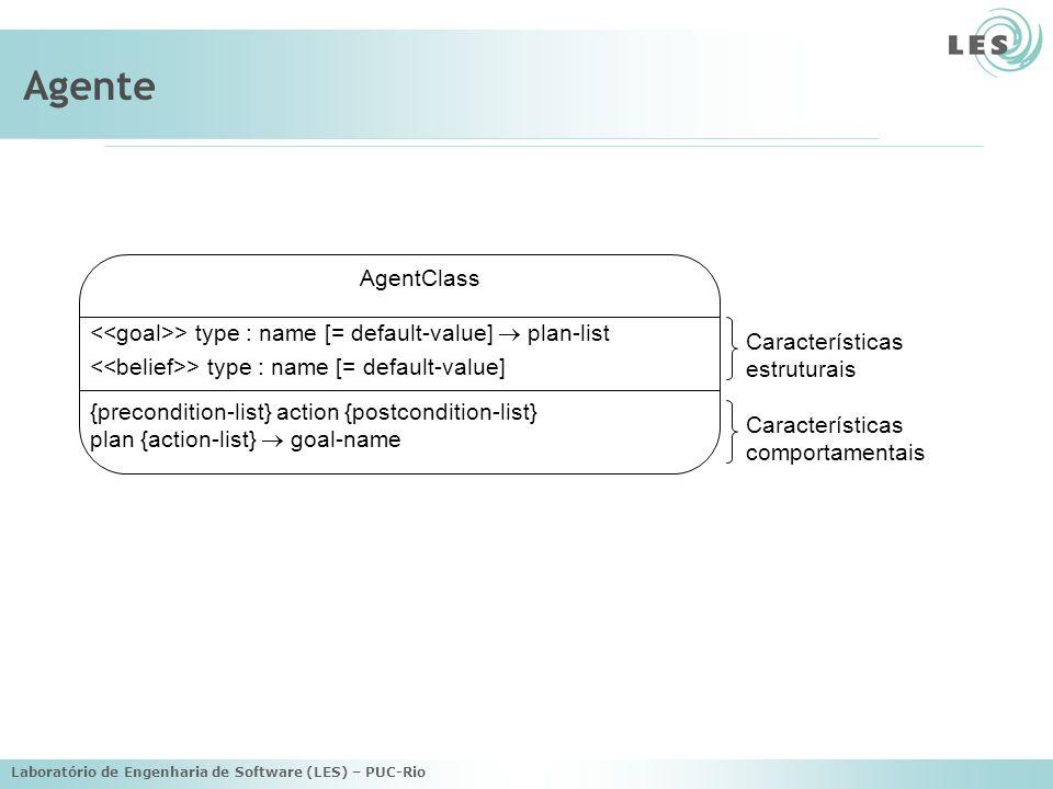 Agente AgentClass. <<goal>> type : name [= default-value]  plan-list. <<belief>> type : name [= default-value]